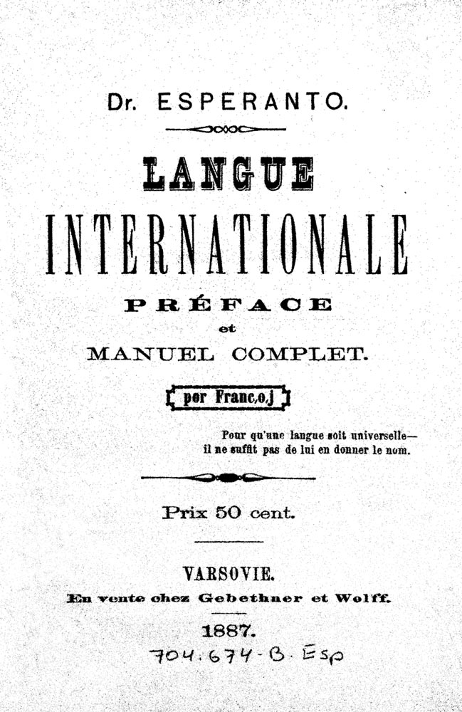 Erstes Esperanto-Lehrbuch 1887, französische Ausgabe